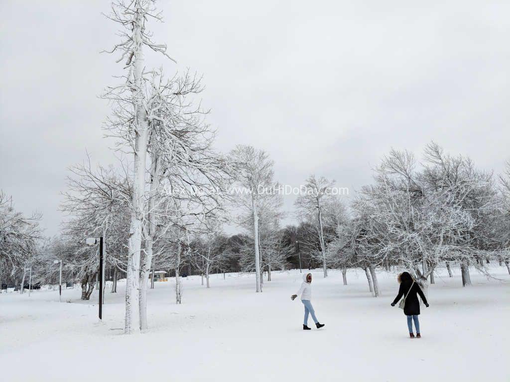 Anna và Pooja chơi tuyết ở phía Mỹ